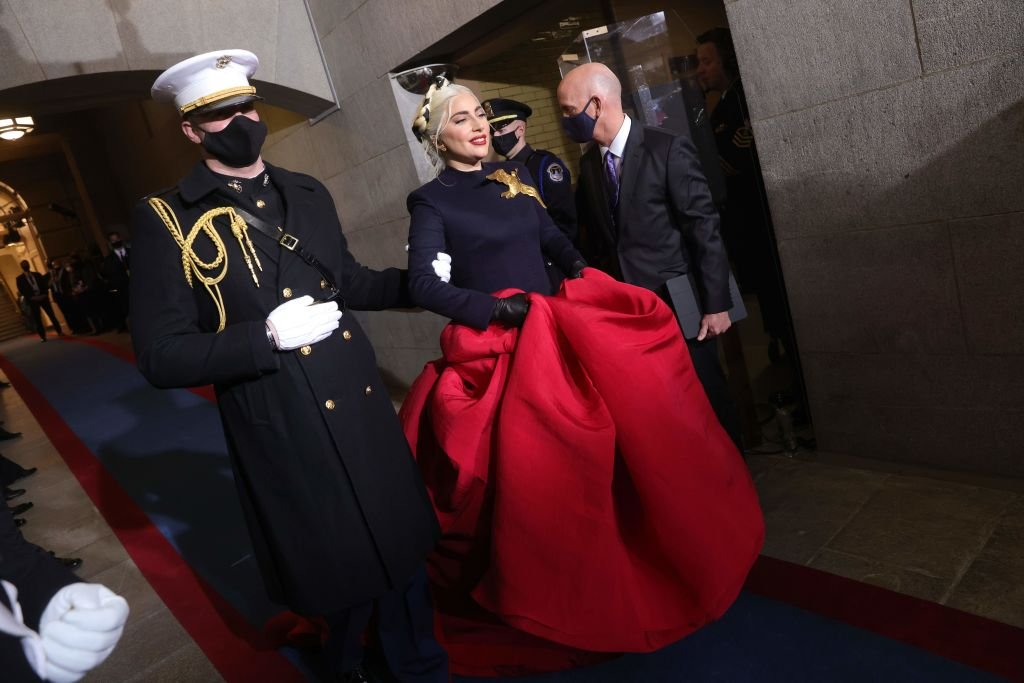 Lady Gaga arrives to sing the National Anthem during the inauguration of US President-elect Joe Biden on January 20, 2021 | Photo : Getty Images