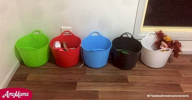 Mom uses 5 buckets to make her kids clean their clutter, and this hack went viral among parents