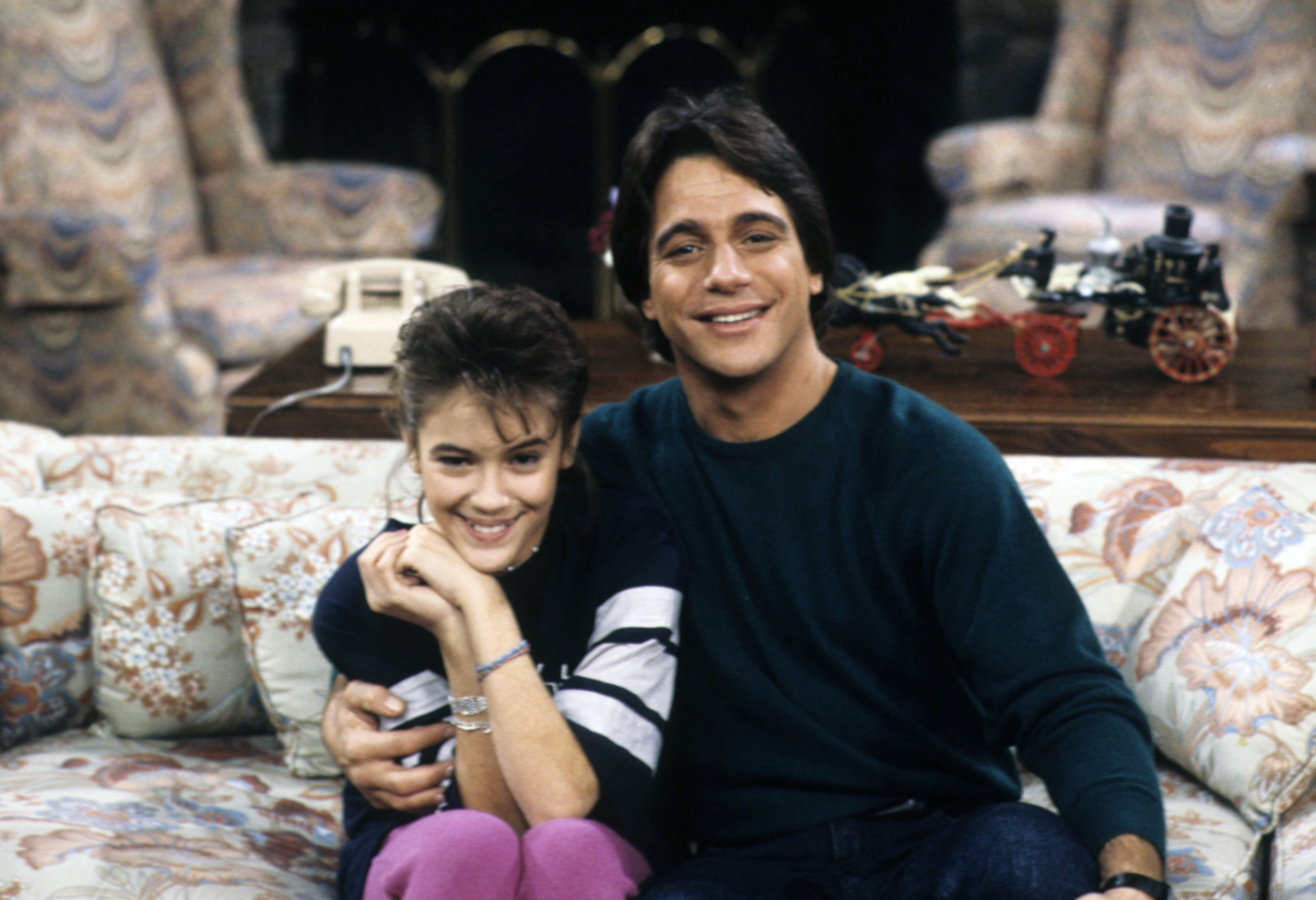 """Actress Alyssa Milano and Tony Danza during their 1987 set in """"Who's the Boss?"""" series.   Photo: Getty Images"""
