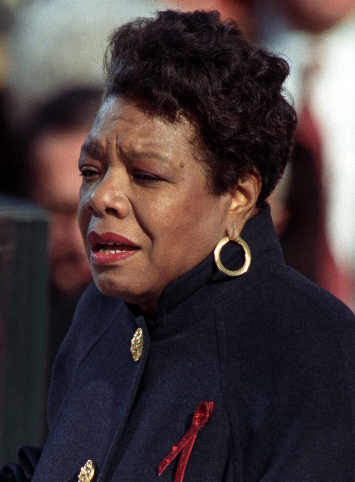 "Angelou reciting her poem ""On the Pulse of Morning"" at US President Bill Clinton's inauguration, January 20, 1993. 