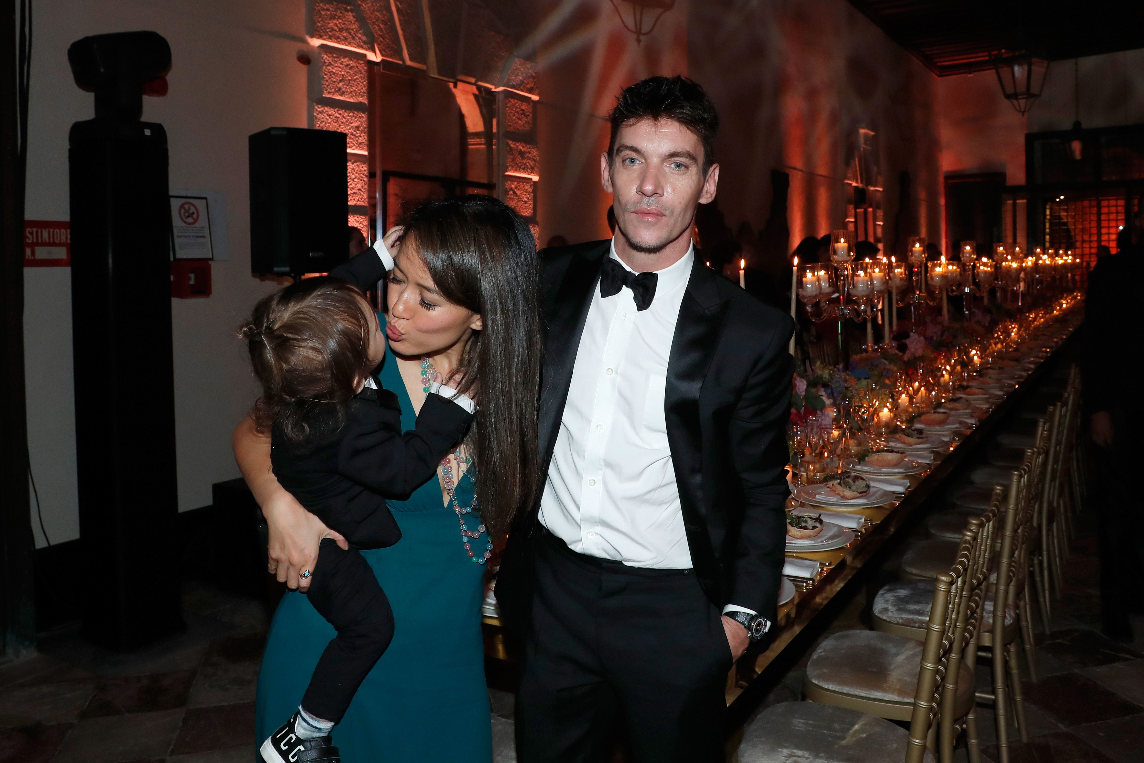 Jonathan Rhys-Meyers, his wife Mara Lane and their son Wolf at the Celebrazione Party By Chopard and Generali to honor The 75th Venice Film Festival in 2018 in Venice | Source: Getty Images