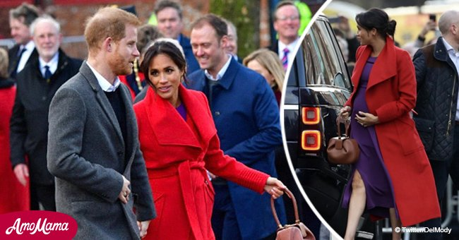 Heavily pregnant Meghan's striking choice of color for first outing with Harry in 2019