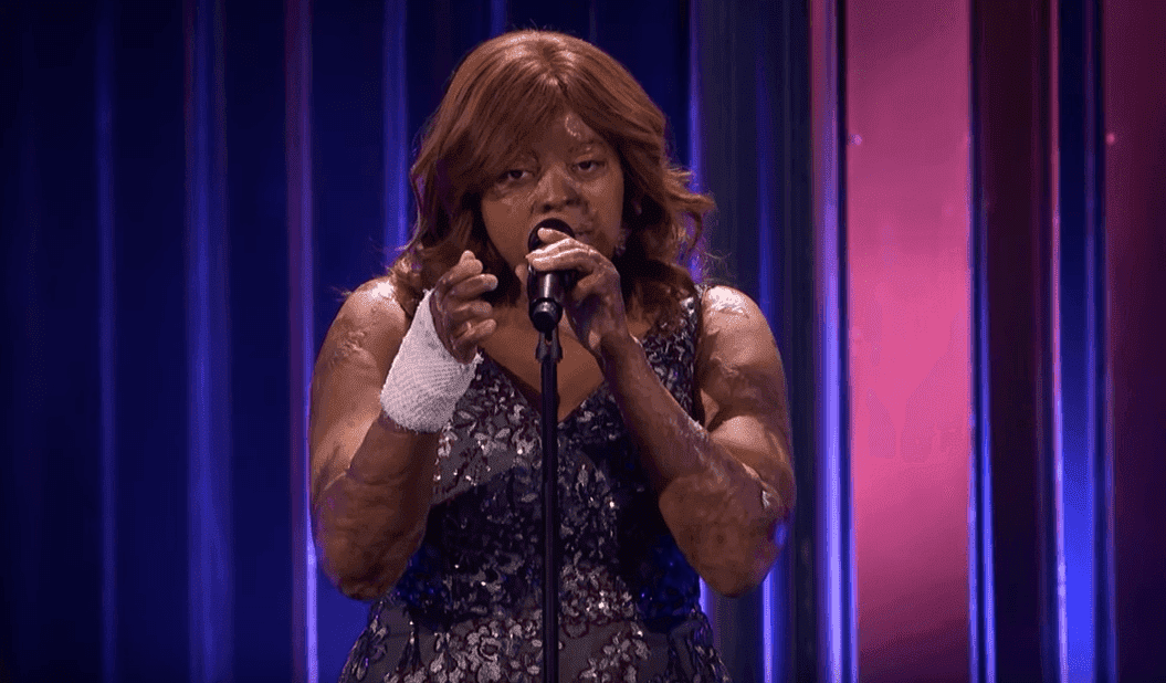 """Kechi Okwuchi performing """"You Are The Reason"""" by Calum Scott at """"America's Got Talent: The Champions""""   Photo: YouTube/America's Got Talent"""
