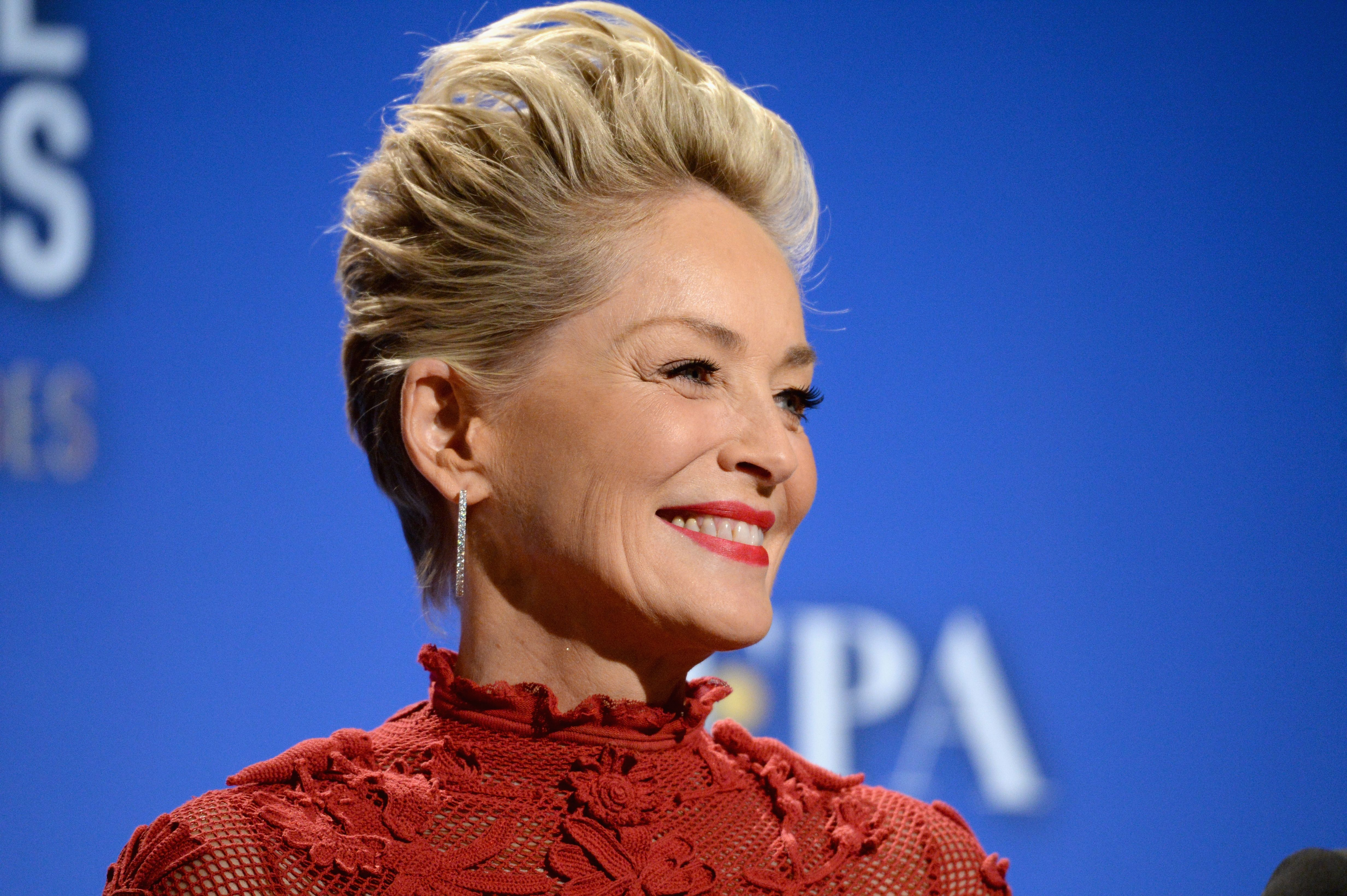 Sharon Stone during Moet & Chandon Toasts The 75th Annual Golden Globe Awards Nominations at The Beverly Hilton Hotel on December 11, 2017 in Beverly Hills, California. | Source: Getty Images
