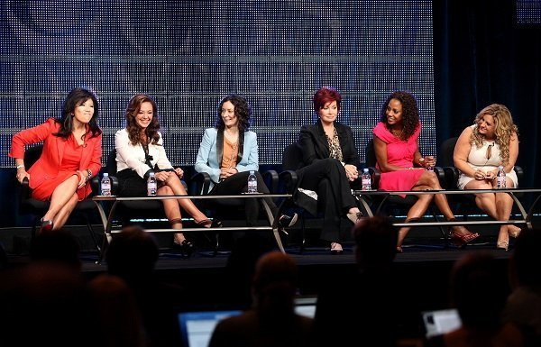 "Julie Chen, Leah Remini, Sara Gilbert, Sharon Osbourne, Holly Robinson Peete, and Marissa Jaret Winokur of ""The Talk"" in July 2010 
