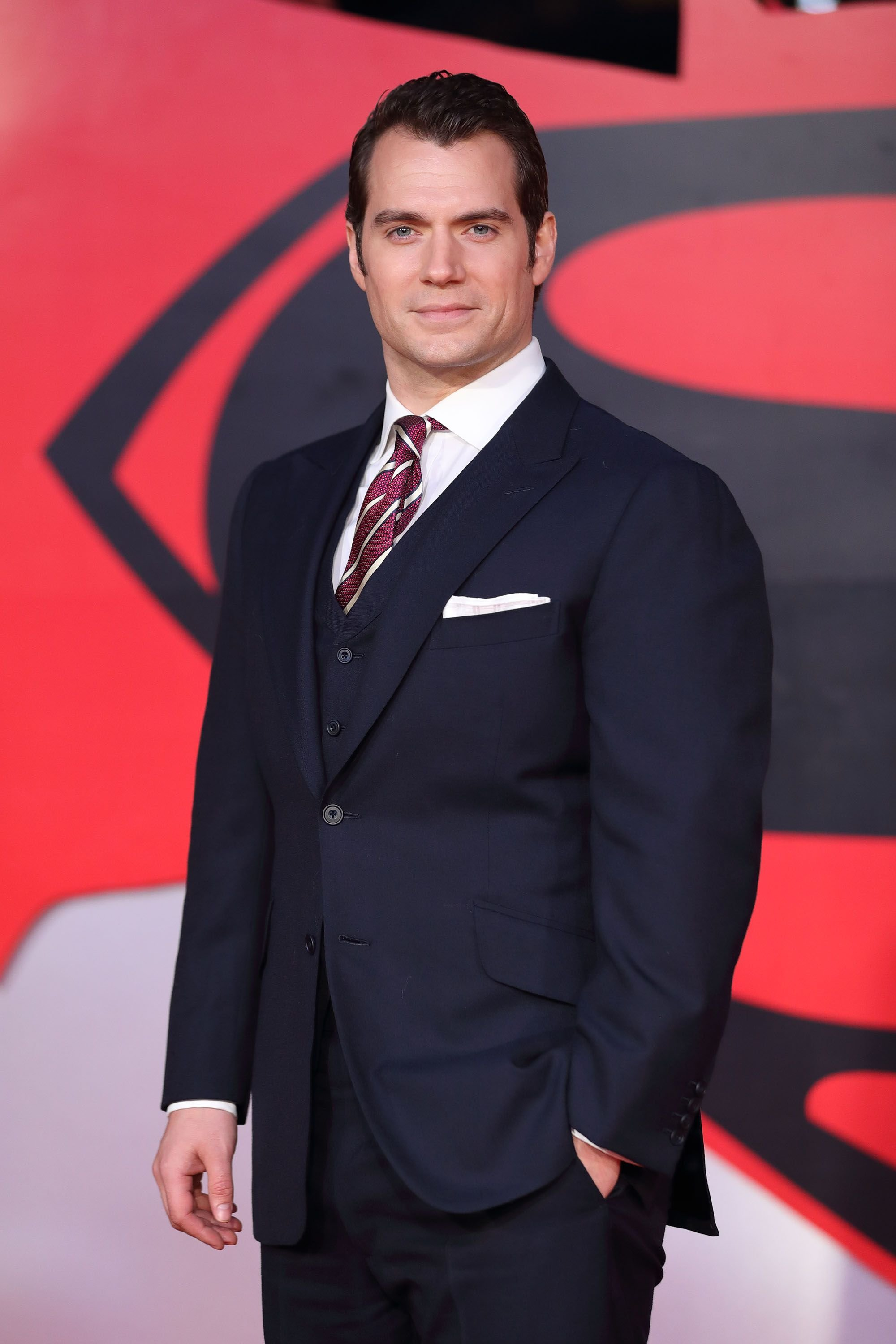 "Henry Cavill at the premiere of ""Batman V Superman: Dawn Of Justice"" in 2016 in London, England 