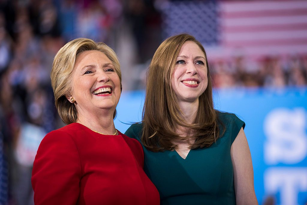 Hillary Clinton and Chelsea Clinton at a rally November 8, 2016 in Raleigh, North Carolina. The final rally of her 2016 campaign started just before 1 am on Election Day. | Source: Getty Images