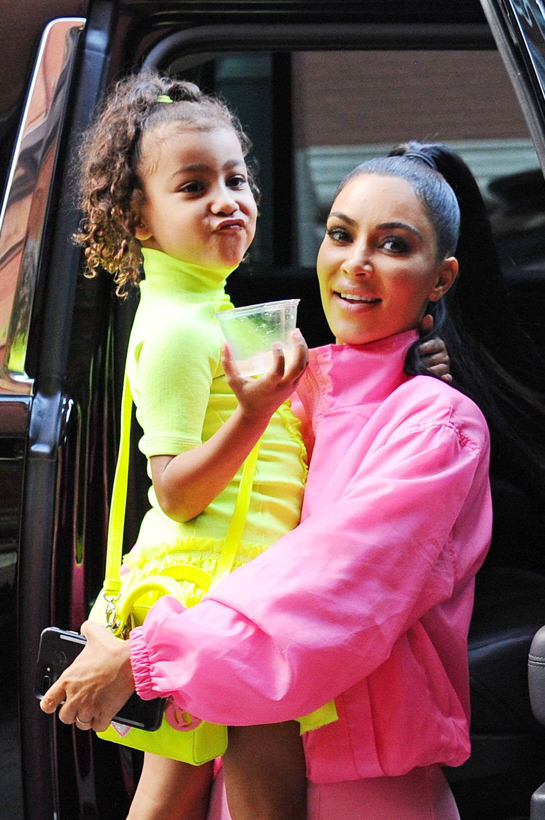 Kim Kardashian and North West seen leaving Electric Lady Studios on September 29, 2018 | Photo: Getty Images