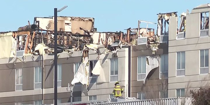 The top floor of the Hilton Garden Inn, in Killeen, Texas, the morning after the fire broke out   Photo: KCENNews