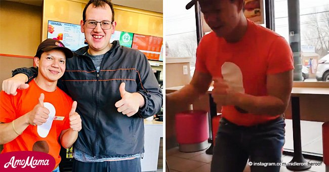 Heartwarming video shows Dunkin' Donuts employee dancing with autistic customer