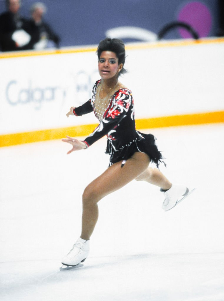 Debi Thomas at the 1988 Winter Olympic Games on February 27, 1988 at the Saddledome in Calgary, Alberta, Canada | Photo: GettyImages