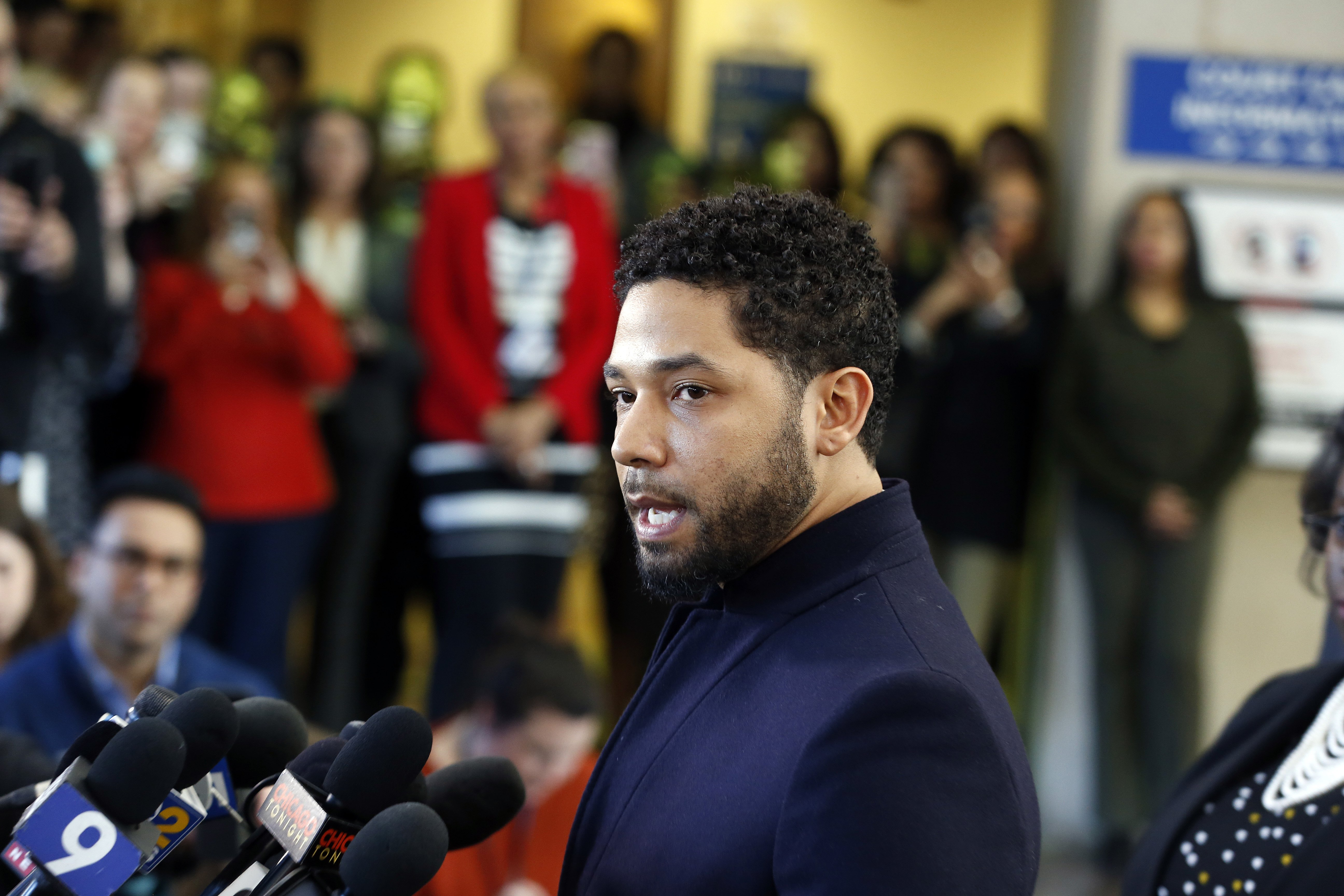 Jussie Smollett speaking to the media after all charges against him were dropped in March 2019. | Photo: Getty Images