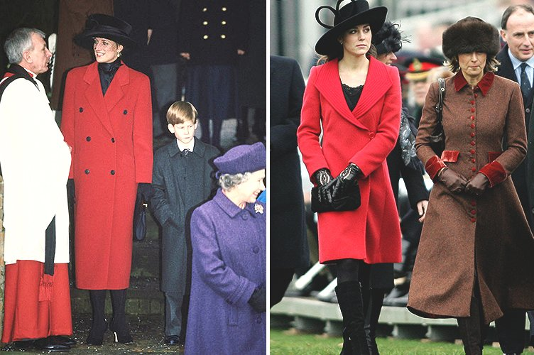 Princess Diana in December 1993 and Duchess Kate Middleton in December 2006 | Photo: Getty Images