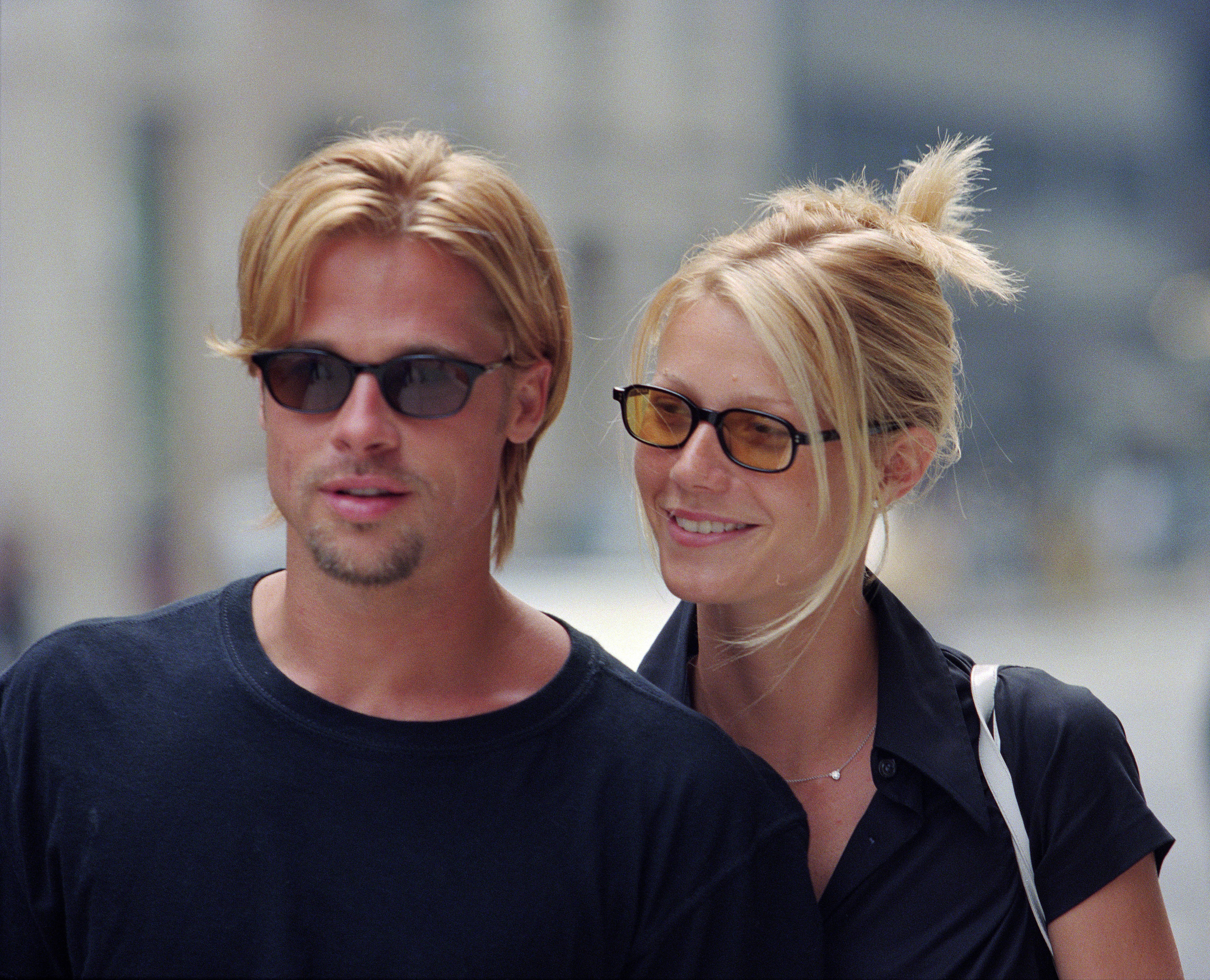 Brad Pitt and Gwyneth Paltrow rocking blond hair in 1996, New York City.   Photo: Getty Images