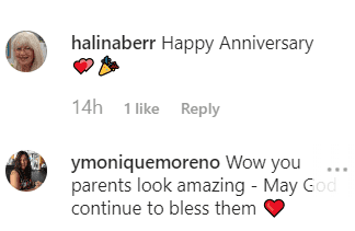 More comments left on Theresa's picture of her parents anniversaries | Instagram: @theresacaputo