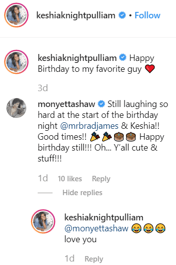 Screenshot of the comments section.  Photo: Instagram/Keshia Knight Pulliam