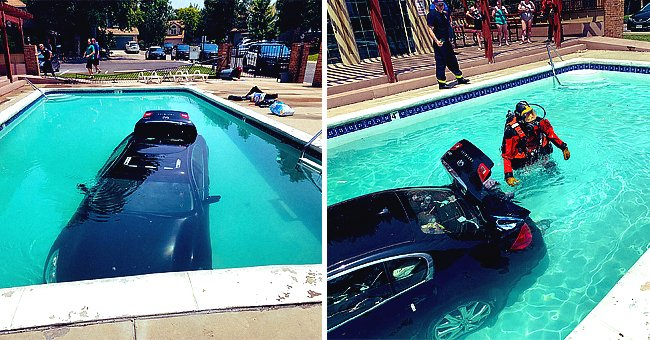 A diver can been seen investigating a submerged car that was accidentally driven into a pool   Photo: Twitter/LakewoodPDCO