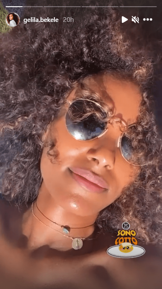 Gelila Bekele shares her sun-kissed face with a dark shade on in an IG post.   Photo: Instagram/Gelila.bekele