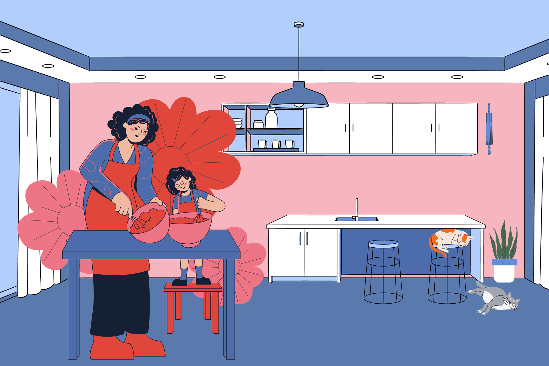 Cartoon of a mom and daughter cooking   Source: Pixabay