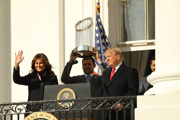 President Donald Trump and first lady Melania Trump welcome the 2019 World Series Champions, the Washington Nationals, to the White House November 4, 2019 in Washington, DC | Photo: Getty Images