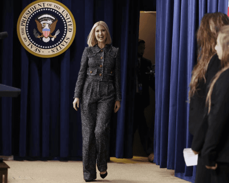 Ivanka Trump walks on stage for her speech  during the White House Summit on Child Care and Paid Leave at the White House, on Thursday, Dec. 12, 2019, Washington, D.C.   Source: Zach Gibson/Bloomberg via Getty Images