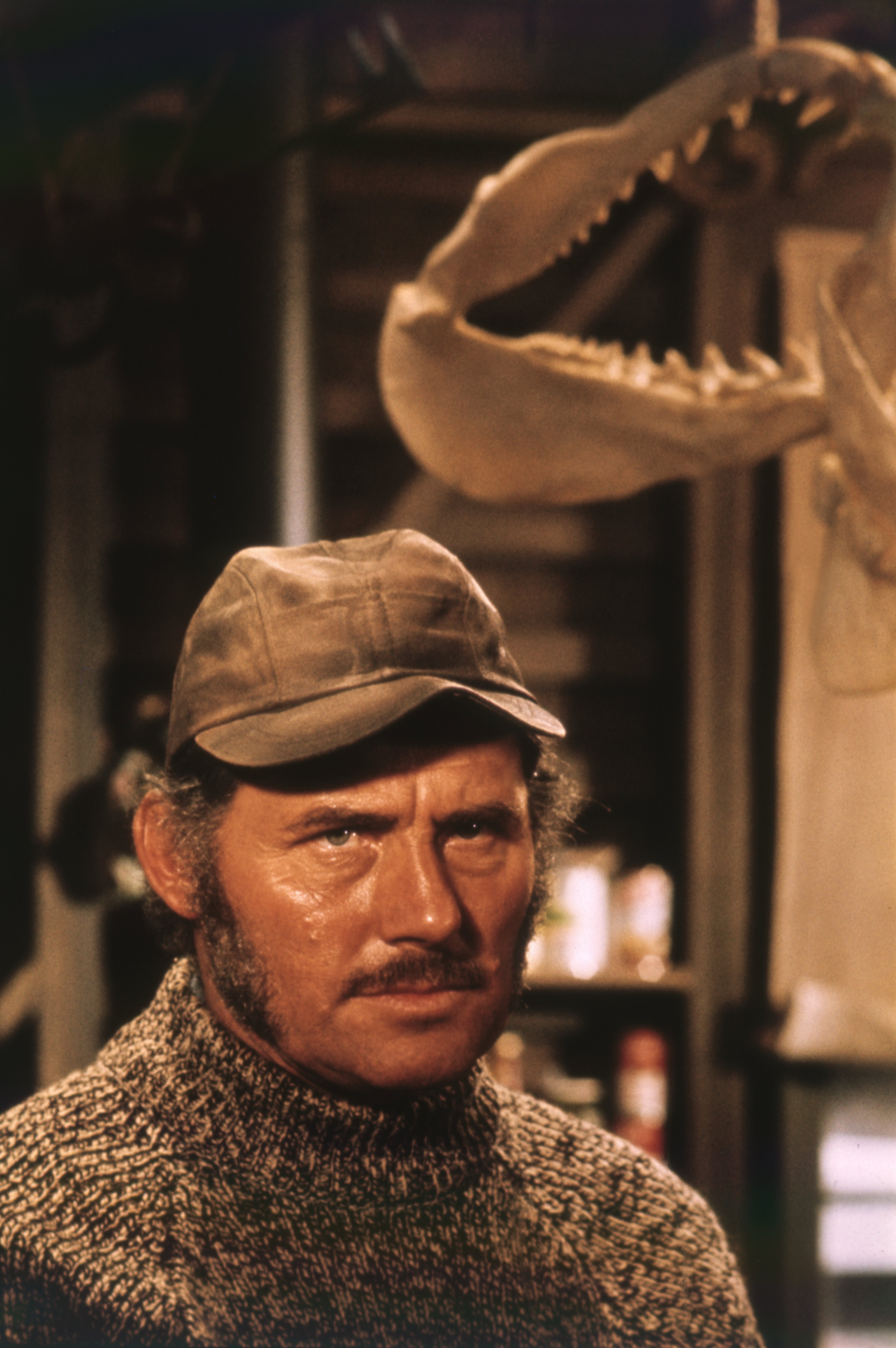 """Robert Shaw on the set of """"Jaws,"""" directed by Steven Spielberg and released in 1975.   Source: Getty Images."""