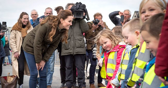 Kate Middleton talking to young children outside the European Marine Energy Center, 2021, Orkney, Scotland.   Photo: Getty Images