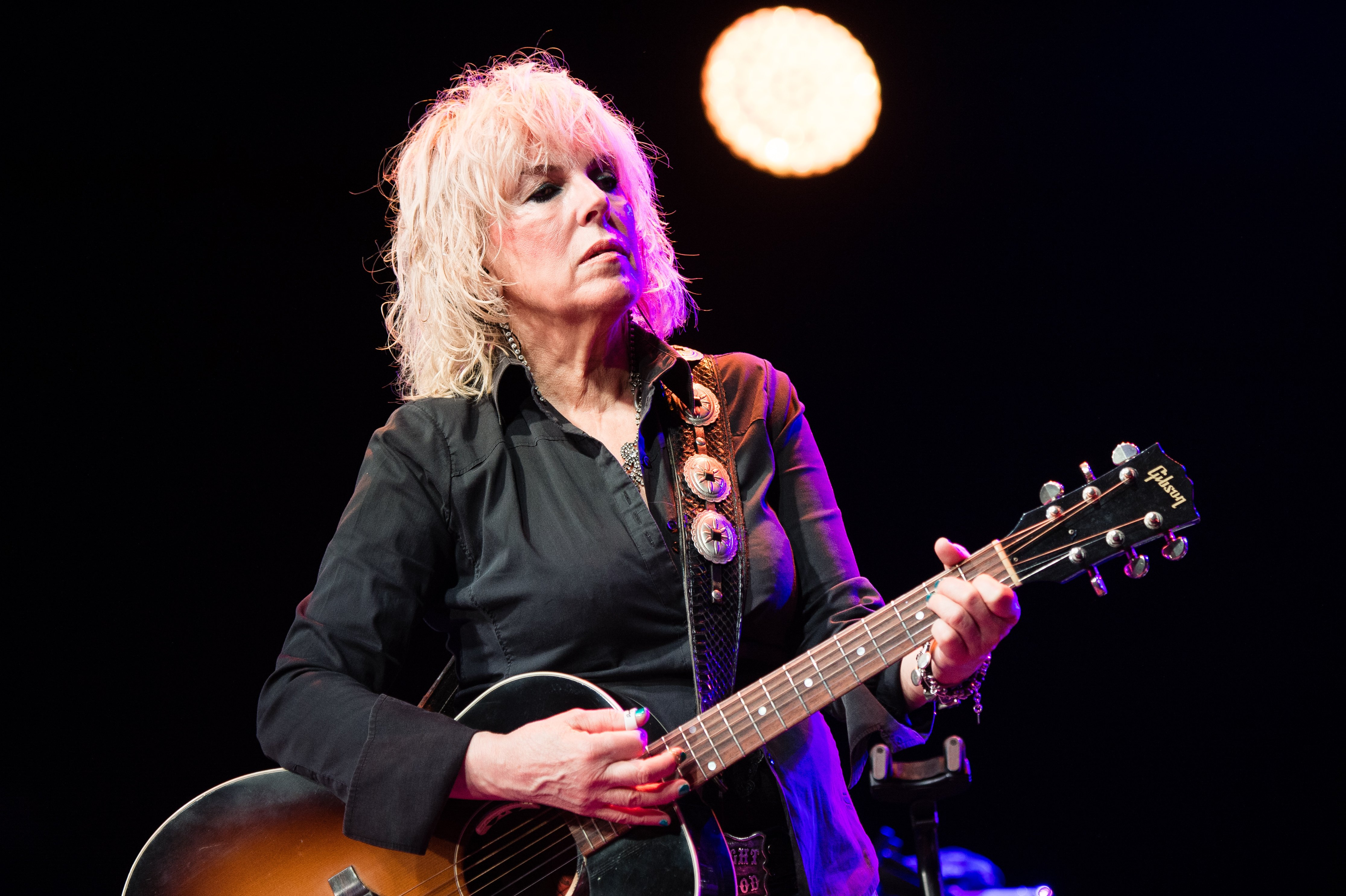 Lucinda Williams pictured on stage during the Cambridge Folk Festival 2019, Cambridge, England.   Photo: Getty Images