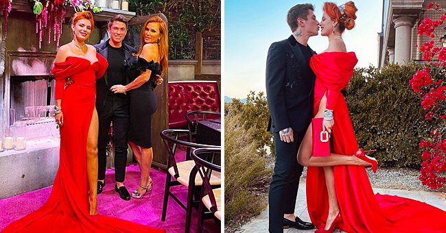 Bella Thorne Shows off Endless Legs in Daring Red Dress with Waist-High Slit at Her Engagement Party