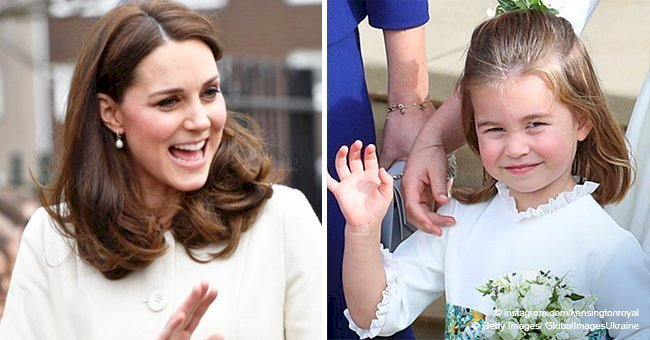 Princess Charlotte adorably repeated her mother's movement on Princess Eugenie's wedding photo