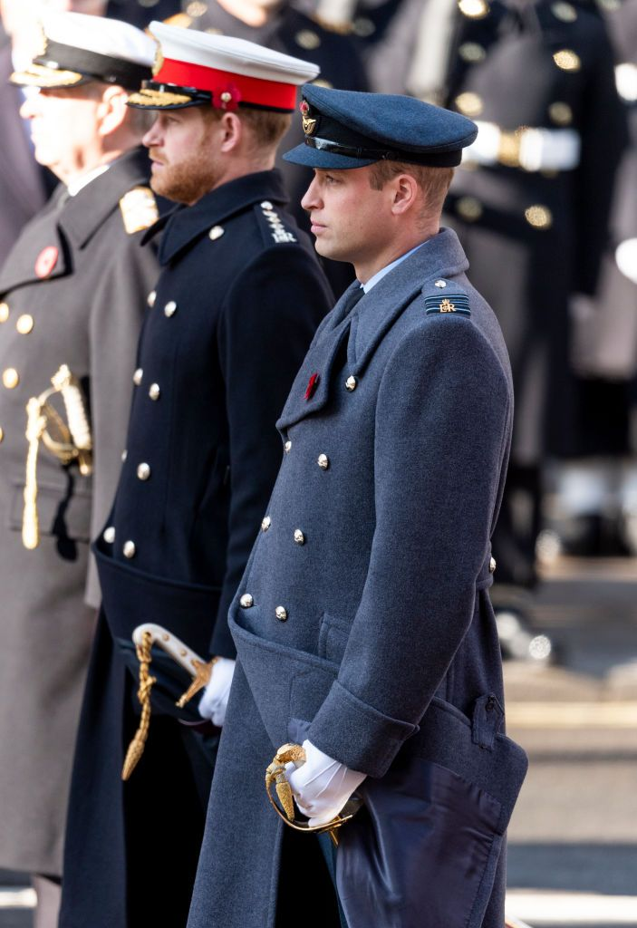 Prince William, Duke of Cambridge and Prince Harry, Duke of Sussex, at the annual Remembrance Sunday memorial at The Cenotaph in London, England | Photo: Mark Cuthbert/UK Press via Getty Images