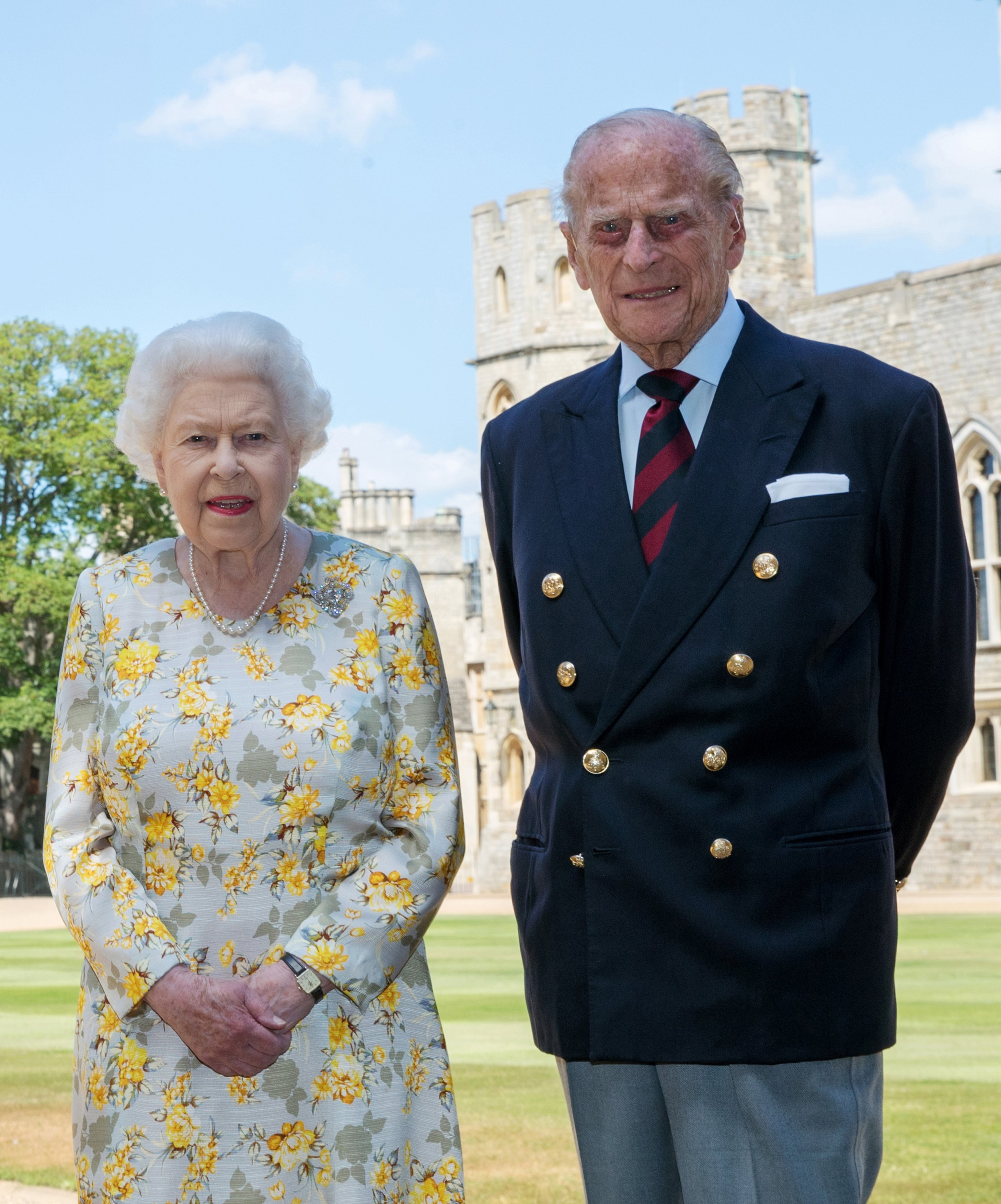 Queen Elizabeth II and the Duke of Edinburgh pose in the quadrangle of Windsor Castle ahead of his 99th birthday on Wednesday, on June 1, 2020, in Windsor, United Kingdom. | Source: Getty Images.