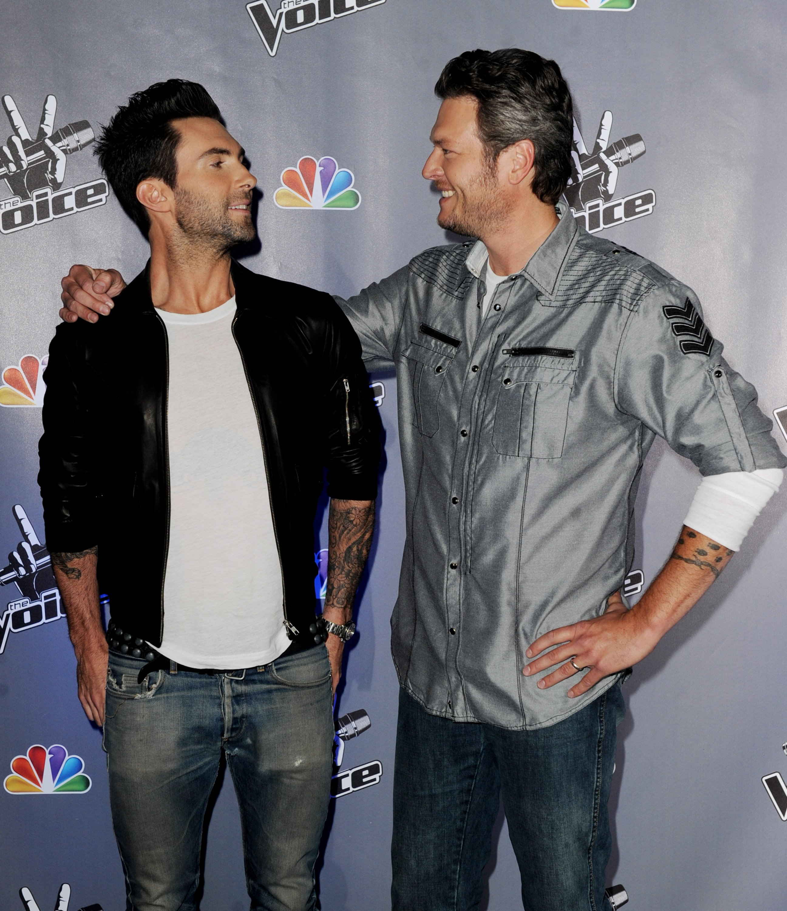 """Adam Levine and Blake Shelton appear at a press junket for """"The Voice"""" in Culver City, California on October 28, 2011 