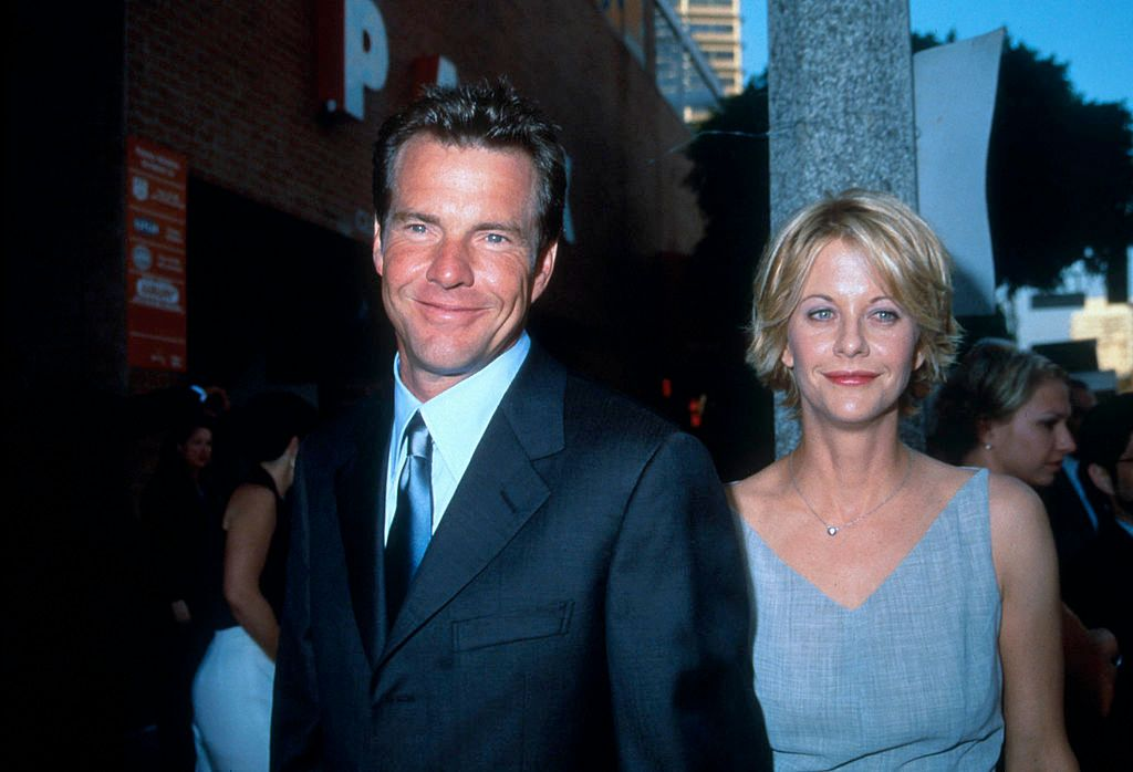 "Dennis Quaid and actress Meg Ryan arrive at the premiere of ""The Parent Trap"" in Los Angeles, CA., July 20, 1998. 