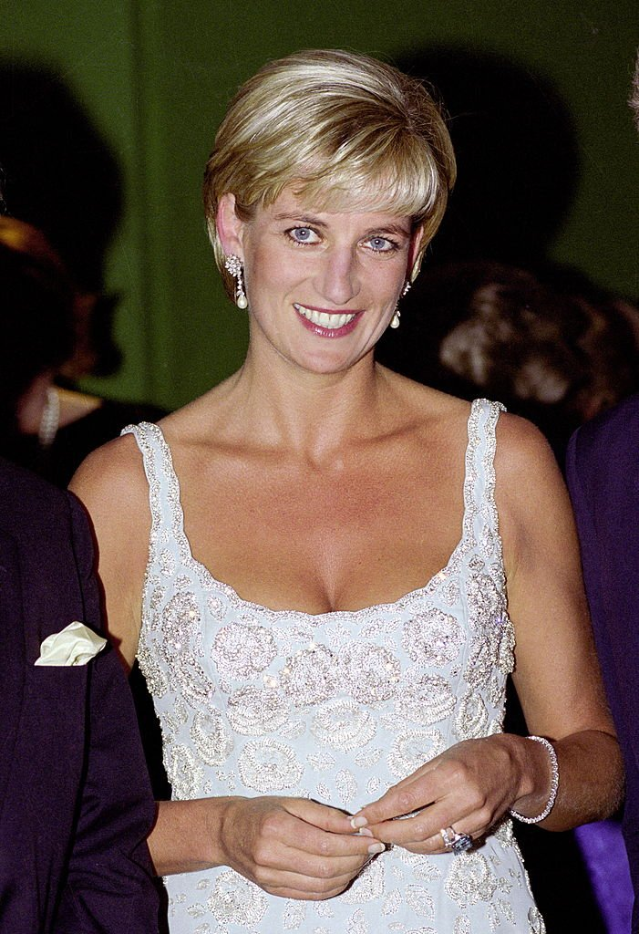 Diana, Princess Of Wales at an auction in London wearing a Catherine Walker cocktail dress | Photo: Getty Images