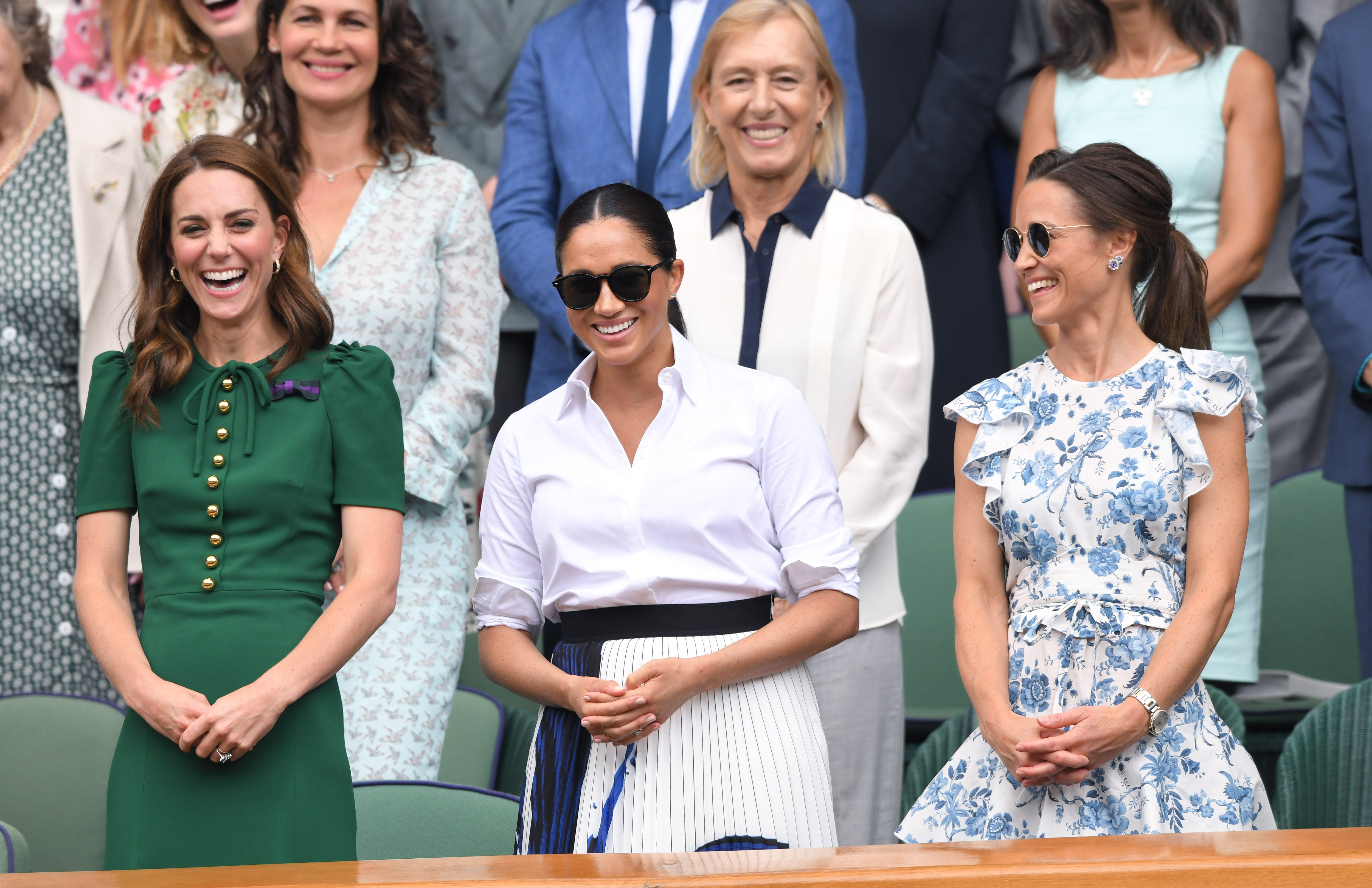 Duchess Kate, Duchess Meghan, and Pippa Middleton at Wimbledon on July 13, 2019   Photo: Getty Images