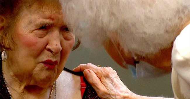 110-year-old Alma Kahl speaking with another lady.   Source: twitter.com/myfox8