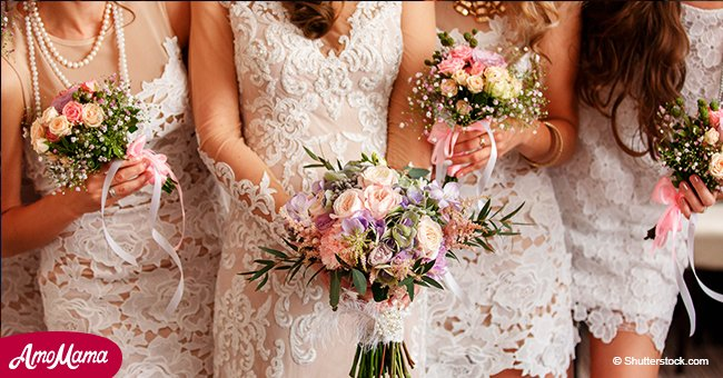 Bride invites bridesmaids and family to wear their wedding gowns to nuptials