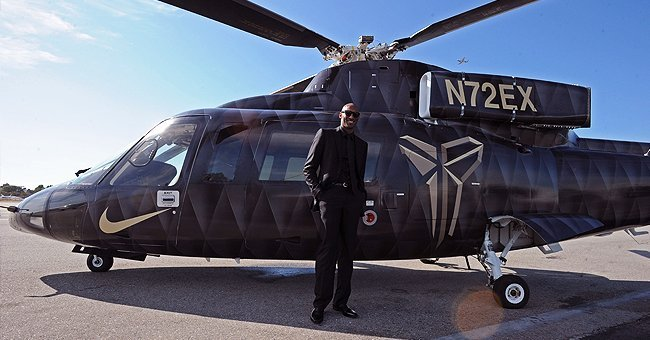 Kobe Bryant #24 of the Los Angeles Lakers poses for a photo in front of the helicopter he took to his last game against the Utah Jazz on April 13, 2016 at Staples Center in Los Angeles, California | Photo: Getty Images