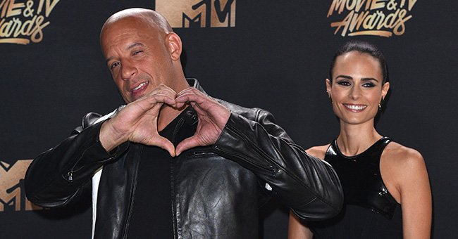 Vin Diesel and Jordana Brewster posing in the press room at the 2017 MTV Movie and TV Awards at The Shrine Auditorium in Los Angeles, California | Photo: C Flanigan/Getty Images