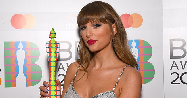 Taylor Swift Dons an Icy-Blue Sequined Two-Piece Outfit by Miu Miu at the 2021 BRIT Awards
