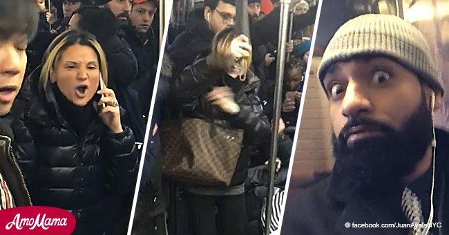Eine zornige rassistische Frau überfällt eine asiatisch aussehende Frau in der U-Bahn mit ihrem Regenschirm