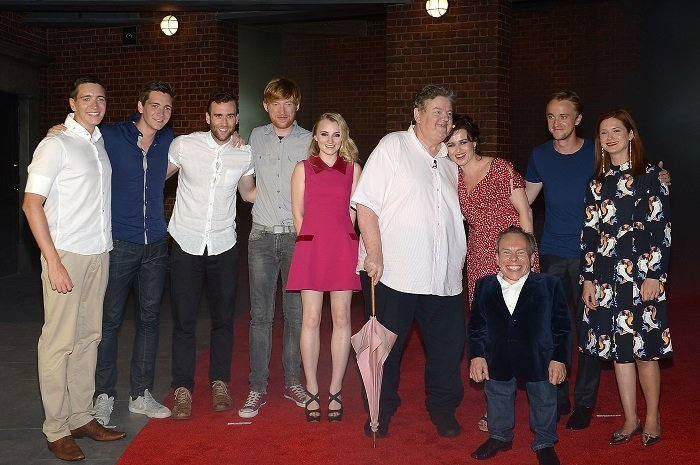 (L-R) Oliver Phelps, James Phelps, Matthew Lewis, Domhnall Gleeson, Evanna Lynch, Robbie Coltrane, Helena Bonham Carter, Warwick Davis, Tom Felton and Bonnie Wright I Image: Getty Images