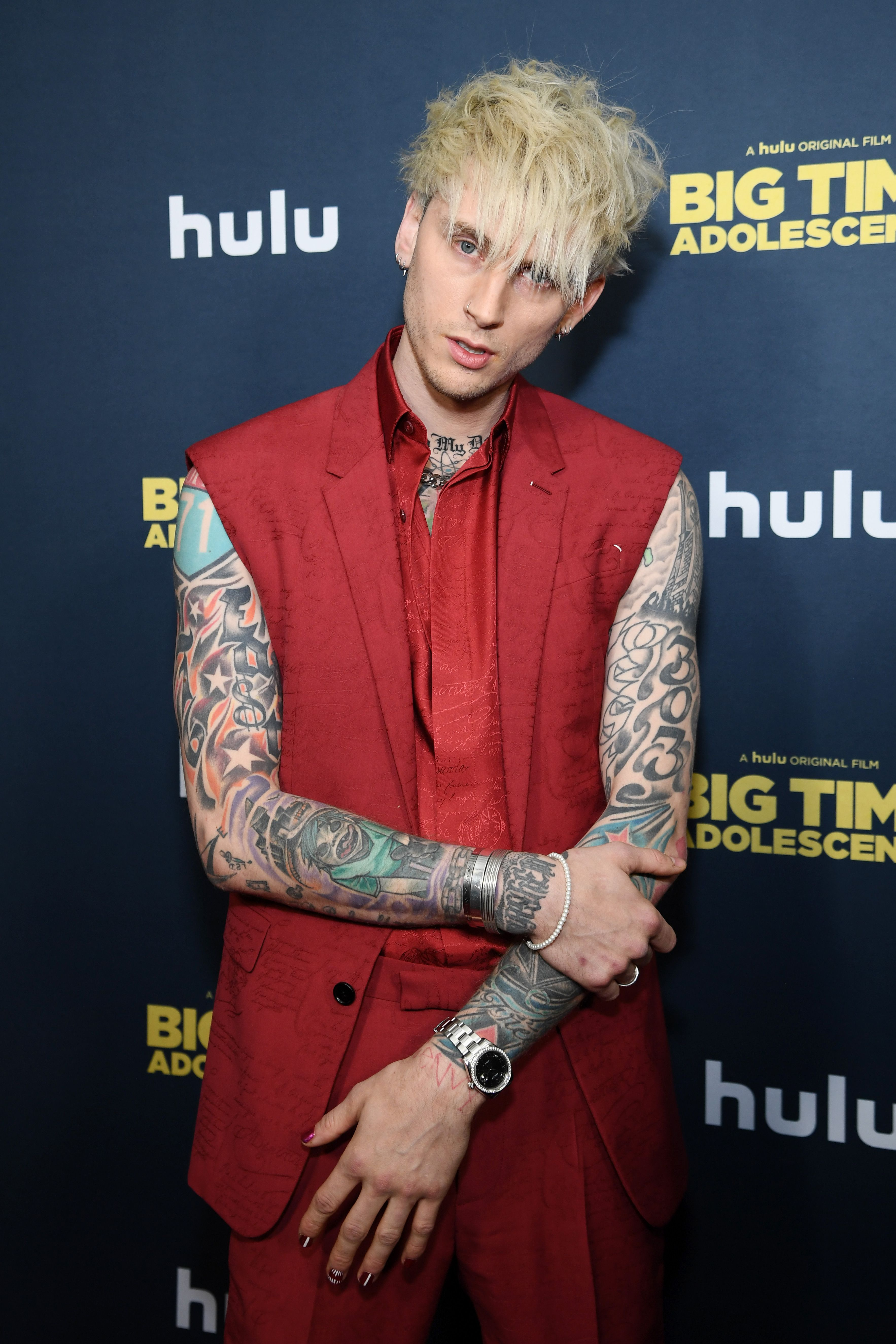 """Machine Gun Kelly at the premiere of """"Big Time Adolescence"""" in March 2020 in New York City 