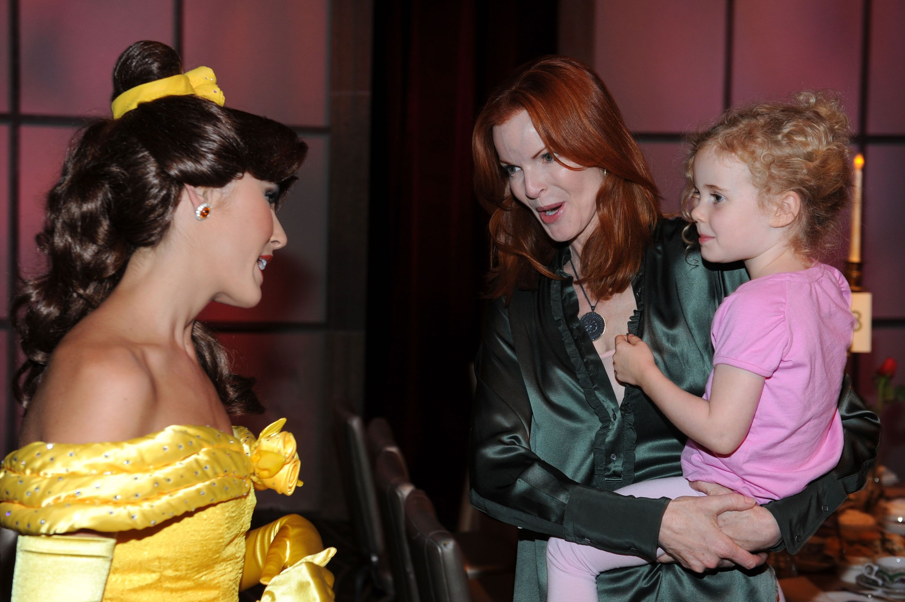 """Marcia Cross and daughter Eden Mahoney attend the """"Beauty and the Beast"""" Sing-A-Long DVD premiere after Tea Party held at the Hollywood and Highland Ballroom on October 2, 2010 in Los Angeles, California. 