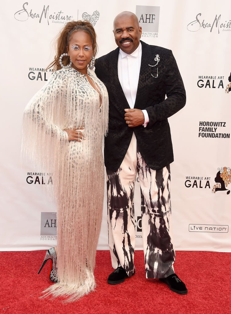 Steve Harvey and Marjorie Elaine Harvey arrive at the WACO Theater Center's 3rd Annual Wearable Art Gala at The Barker Hangar at Santa Monica Airport on June 1, 2019 | Photo: Getty Images