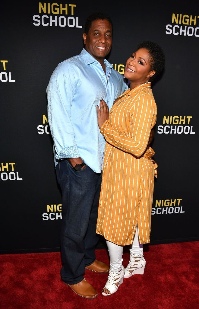 """Trina Braxton and Von Scales at the red carpet screening of """"Night School"""" in September 2018. 