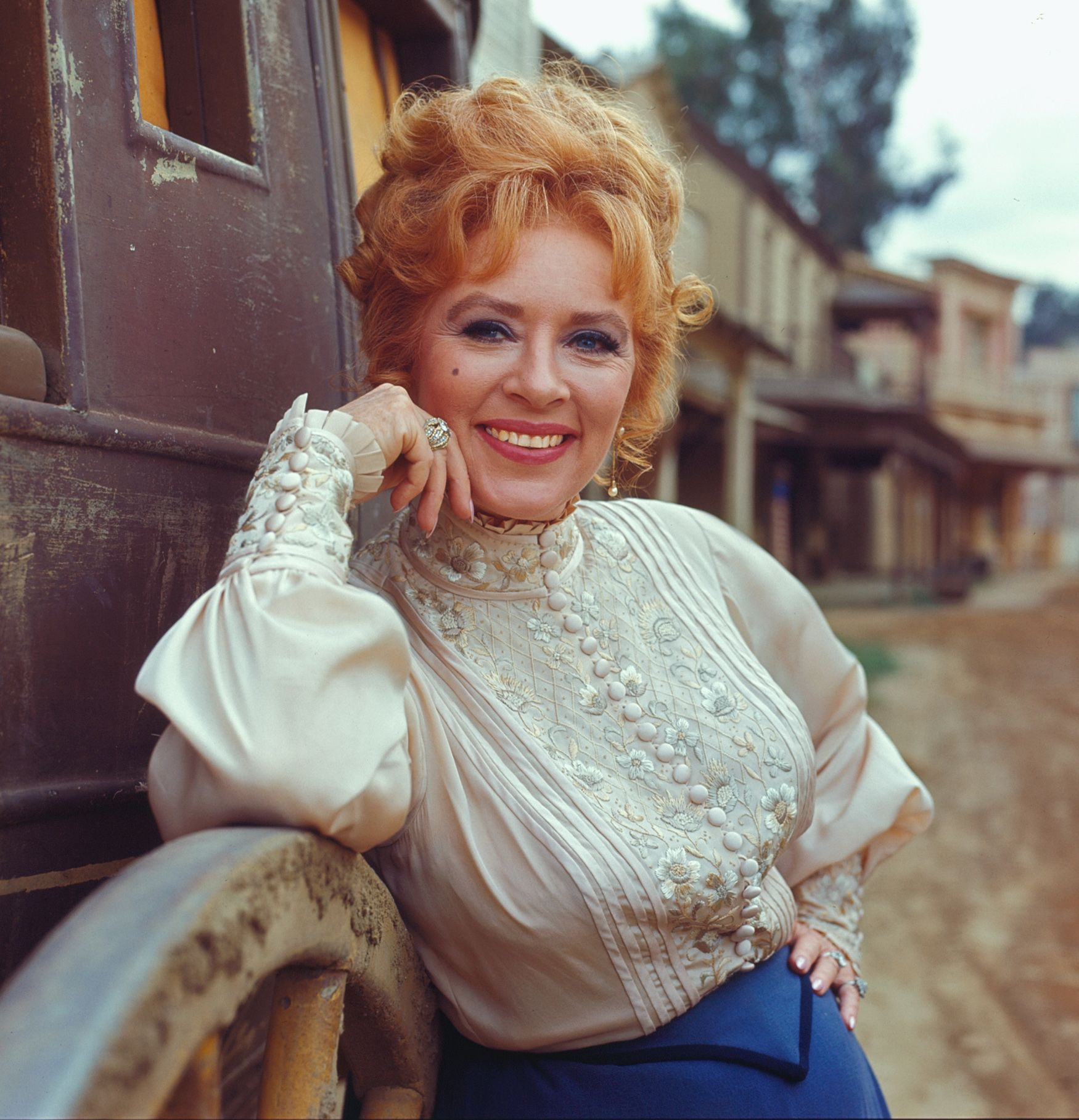 Amanda Blake in costume as Kitty Russell, on the set of  'Gunsmoke' in 1967 | Source: Getty Images