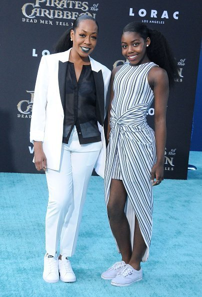 Tichina Arnold and daughter Alijah Kai Haggins at the premiere of Disney's 'Pirates Of The Caribbean: Dead Men Tell No Tales' in May 2017. | Photo: Getty Images