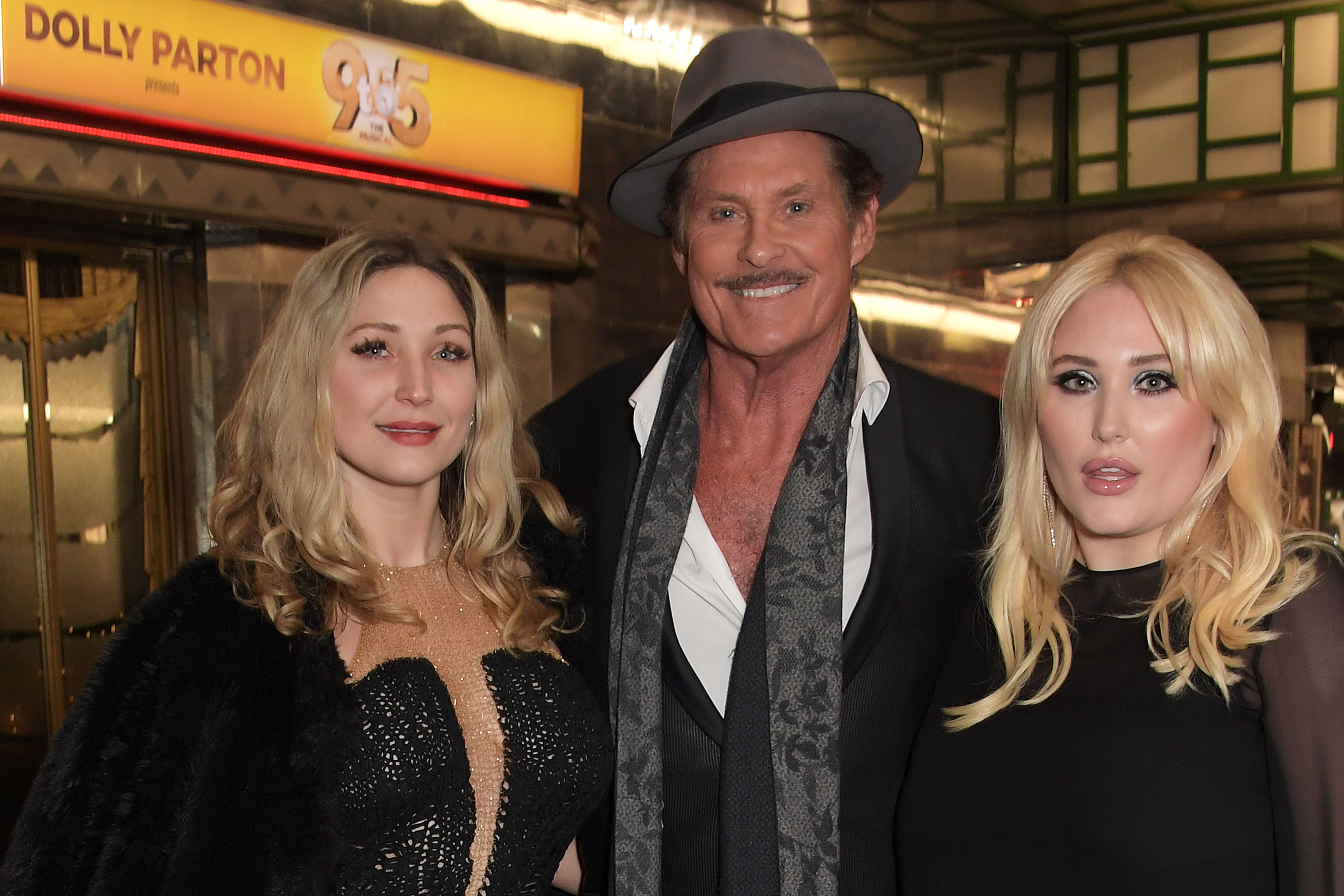 """Taylor-Ann Hasselhoff, David Hasselhoff and Hayley Hasselhoff in London in December 2019, after the actor joined the cast of  """"9 To 5: The Musical"""" 